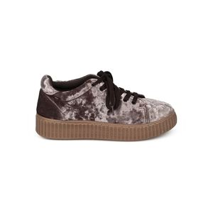 QUPID CRUSHED VELVET LACE UP SNEAKERS